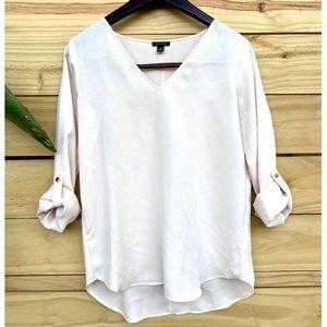 Ann Taylor V Neck Long Sleeve Pullover Blouse